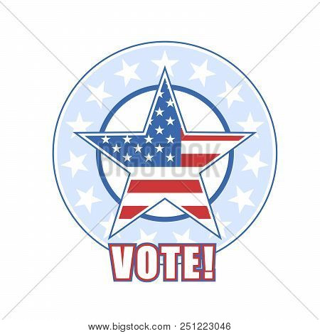 Voting Badge With American Flag And Stars - Vote Sign