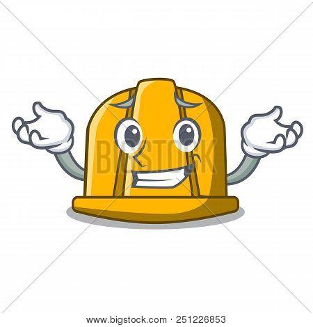 Grinning Construction Helmet Character Cartoon Vector Illustration