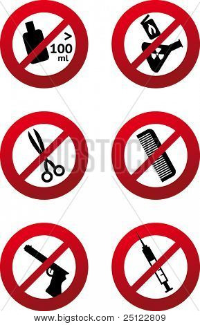Set of vector prohibition signs