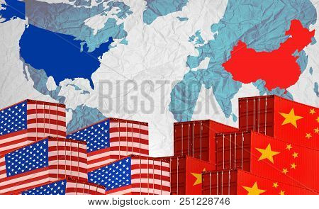 Concept Image Of  Usa-china Trade War, Economy Conflict, Us Tariffs On Exports To China, Trade Frict
