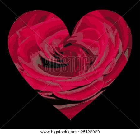 Red Rose Patterned Heart