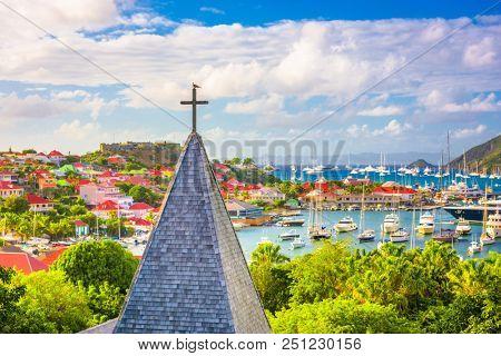 Gustavia, St. Barths church and town skyline.