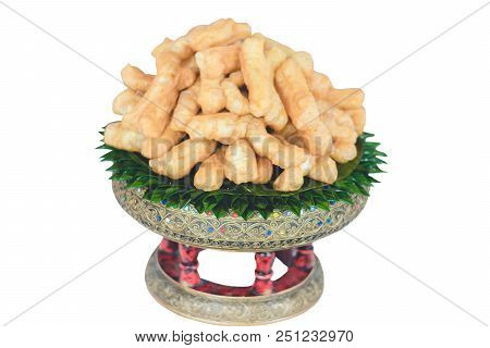 Patongkos On Tray With Banana Leaves Decoration