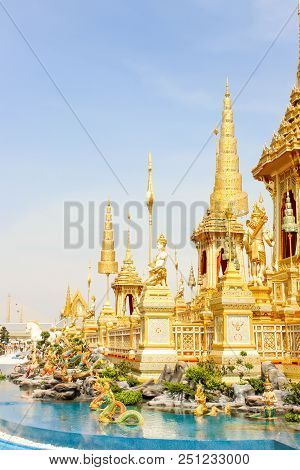 Bangkok, Thailand - November 04, 2017; Gold Supplementary Structures Around Royal Crematorium At Nov