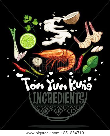 Thai Local Food Tom Yum Kung With Ingredients Vector Illustration