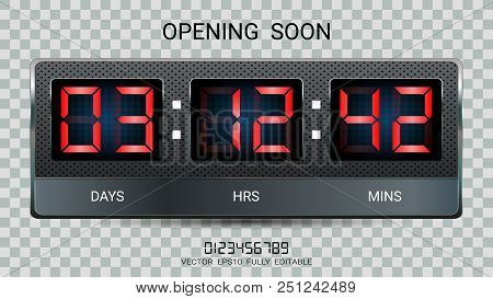 Countdown Timer Remaining Or Clock Counter Scoreboard With Days, Hours And Minutes Display For Web P