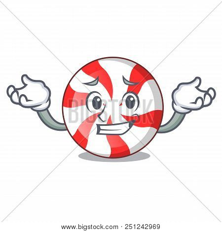 Grinning Peppermint Candy Character Cartoon Vector Illustration