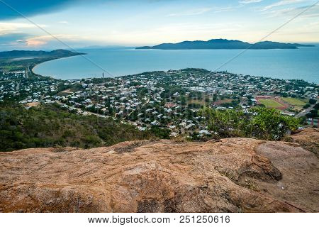Townsville City, Sea And Islands From Castle Hill Lookout In Queensland, Australia