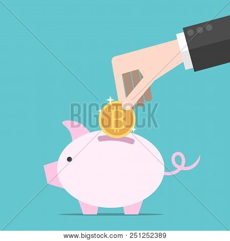 Hand Of Businessman Putting Gold Bitcoin In Pink Piggy Bank On Turquoise Blue Background. Economy, S