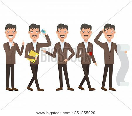 Businessman With Mustache Character Set With Different Poses, Emotions, Gestures. Paperwork, Calling