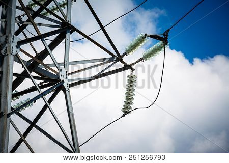 Electricity Is The Major Energy Of The World. High Voltage Post. High Voltage Tower Sky Background.