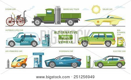 Fuel Alternative Vehicle Vector Team-car Or Gas-truck And Solar-car Or Autogas- Vehicle Illustration