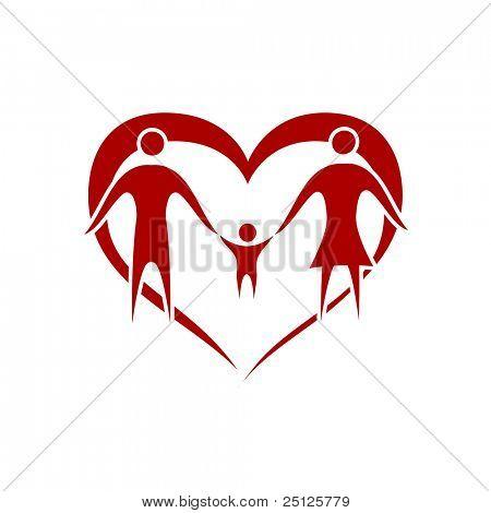 família vetor com o símbolo do coração