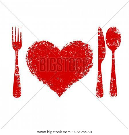A heart health concept - red heart plate, knife, spoon and fork