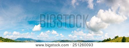 Panorama Of Gorgeous Cloudscape Move To The Right. Lovely Nature Background Useful For Composite Wor