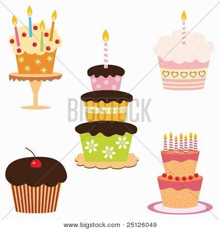 set of birthday cakes