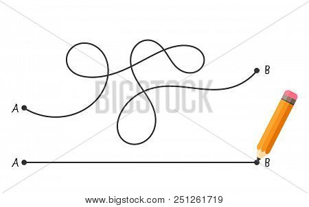 Straight And Complicated Path From Point A To Point B Isolated On White Background. Concept Of Probl