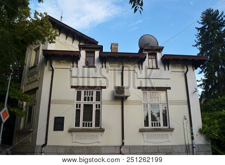 Bulgaria, Varna, July 2018. Famous Astronomer Fritz Zwicki Was Born In This House. He Discovered Neu