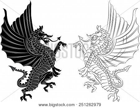 Tribal Tattoo Dragon On White Background. Vector Illustration