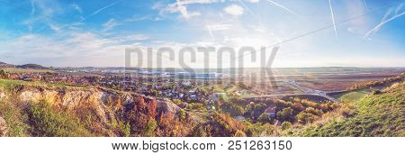 Drazovce Village And Industrial Park Nitra In Sunset, Slovak Republic. Autumn Panoramic Scene. Lands