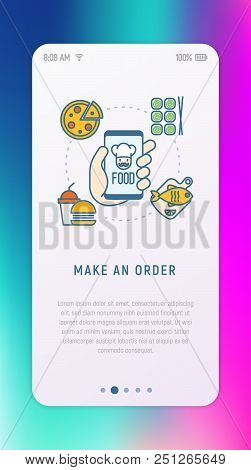 Order Food Online Via Mobile App: Pizza, Sushi, Fast Food, Fish Thin Line Icons. Modern Vector Illus