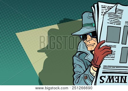 Spy Detective In Hat And Sunglasses, Newspaper. Comic Cartoon Pop Art Retro Vector Illustration Draw