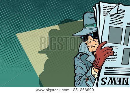 Spy Detective In Hat And Sunglasses, Newspaper. Comic Cartoon Pop Art Retro Vector Illustration Draw