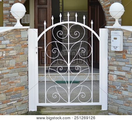 Modern Metal White Gate For The Private House