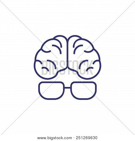 Intellect Line Icon. Human, Brain, Glasses, Eyeglasses. Intelligence Concept. Can Be Used For Topics