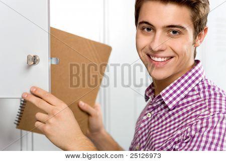 Student by school lockers