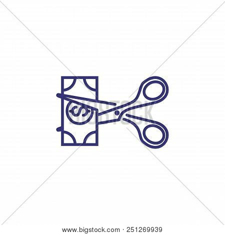 Money Cutting Line Icon. Dollar Banknote, Scissors, Reduction. Finance Concept. Can Be Used For Topi