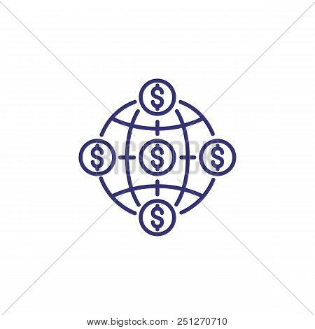 Unified Market Line Icon. Globe, Planet, Dollar. Single Currency Concept. Can Be Used For Topics Lik