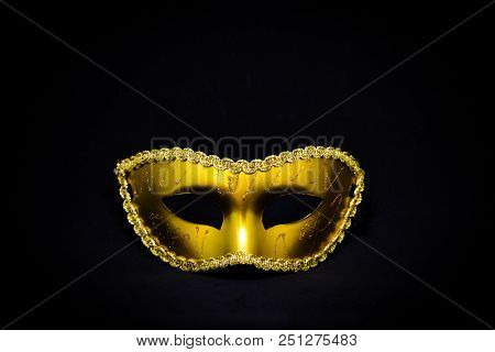 Fantasy Mystery Golden Mask Isolated On Black Background - Halloween & Murder Concept.