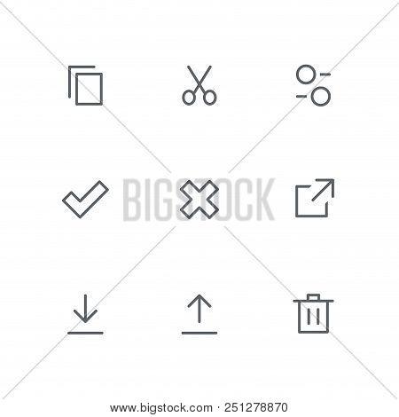 Basic Outline Icon Set - Files, Scissors, Settings, Check Mark, Cross, Link, Download, Upload Arrow