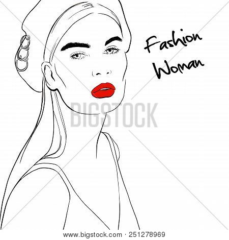 Face Of Beautiful Young Woman With Long Hair In Beret With Red Lips Sketch Style. Woman In Top. Hand