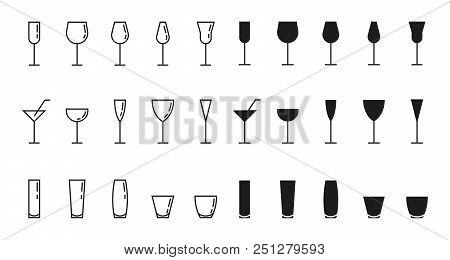 Bar Glasses Vector Icons Set, Thin Line
