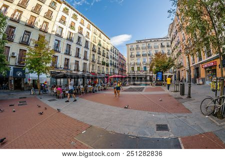 Madrid, Spain - September 3, 2017: Urban Scene, Daytime View Of Chueca Square Located In The Lively