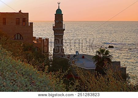 Al-Bahr Mosque or Sea Mosque in Old City of Jaffa, Tel-Aviv, Israel on the sunset. It is the oldest extant mosque in Jaffa, Israel poster