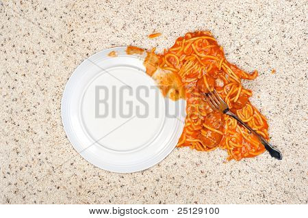 Dropped Plate Of Spaghetti On Carpet