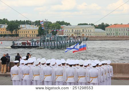 St. Petersburg, Russia - July 26, 2018: Navy Parade Rehearsal With Russian Naval Officers In White F