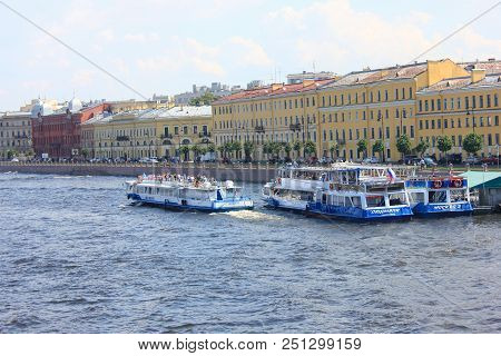 St. Petersburg, Russia - July 13, 2018: Excursion Tour Cruise Boat On Neva River. Cruise Tourist Shi