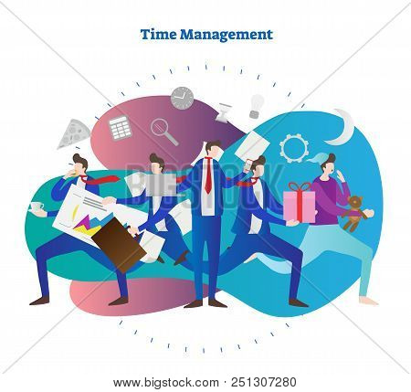Time Management Vector Illustration. Man Try To Be In Time Everywhere. Sleep, Meeting, Business, Wor