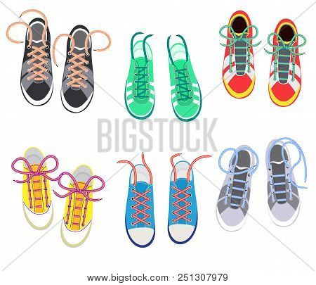 Shoelaces On Snickers Vector Shoestring Or Shoe-laces And Fashion Accessory For Footwear Or Footgear