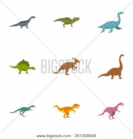 Figures Dinosaur Icons Set. Flat Set Of 9 Figures Dinosaur Vector Icons For Web Isolated On White Ba
