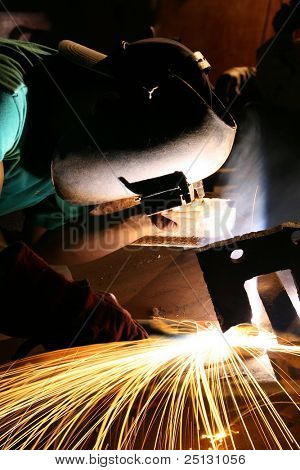 Factory welder at work