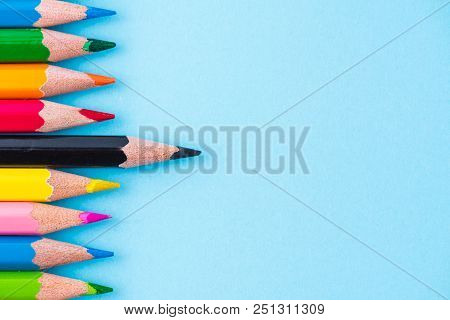 Education Or Back To School Concept. Close Up Macro Shot Of Color Pencil Pile Pencil Nibs On White B