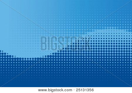 Vector blue contrast halftone wave background