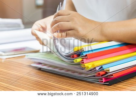 Teacher Is Searching For Homework Assignment Documents With Colourful Sliding Bar Report Cover Of St