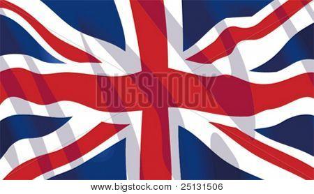 Vector stylish waving United Kingdom flag