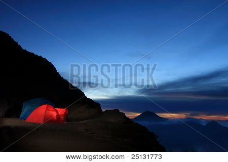 Tent camping in crater rim wilderness